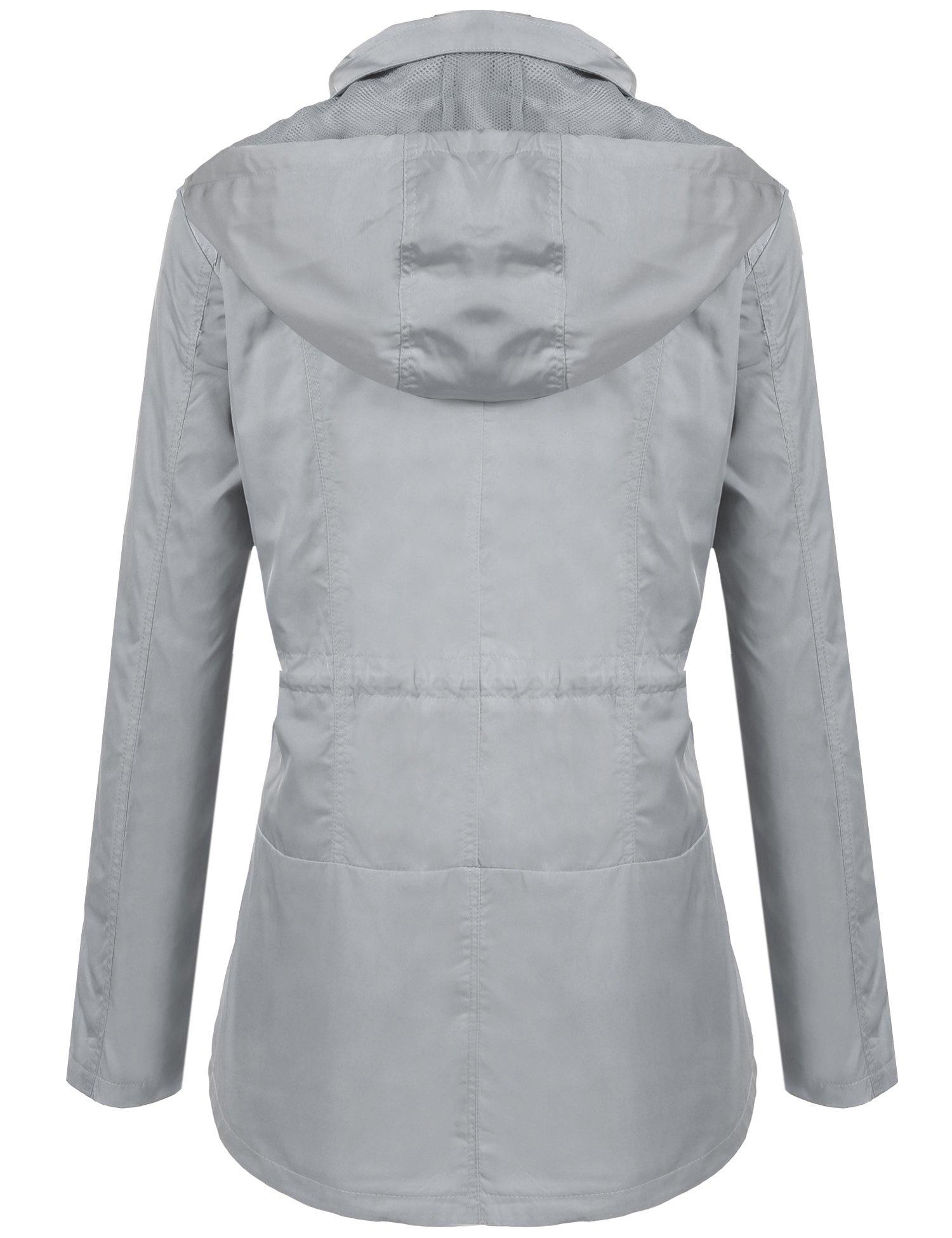 ANGVNS Women's Waterproof Lightweight Rain Jacket Anorak with Detachable Hood by ANGVNS (Image #3)