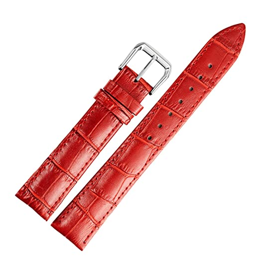reloj de cuero de reemplazo de correas de cuero genuino del becerro de la banda roja de 12 mm de la mujer ligeramente acolchada: Amazon.es: Relojes