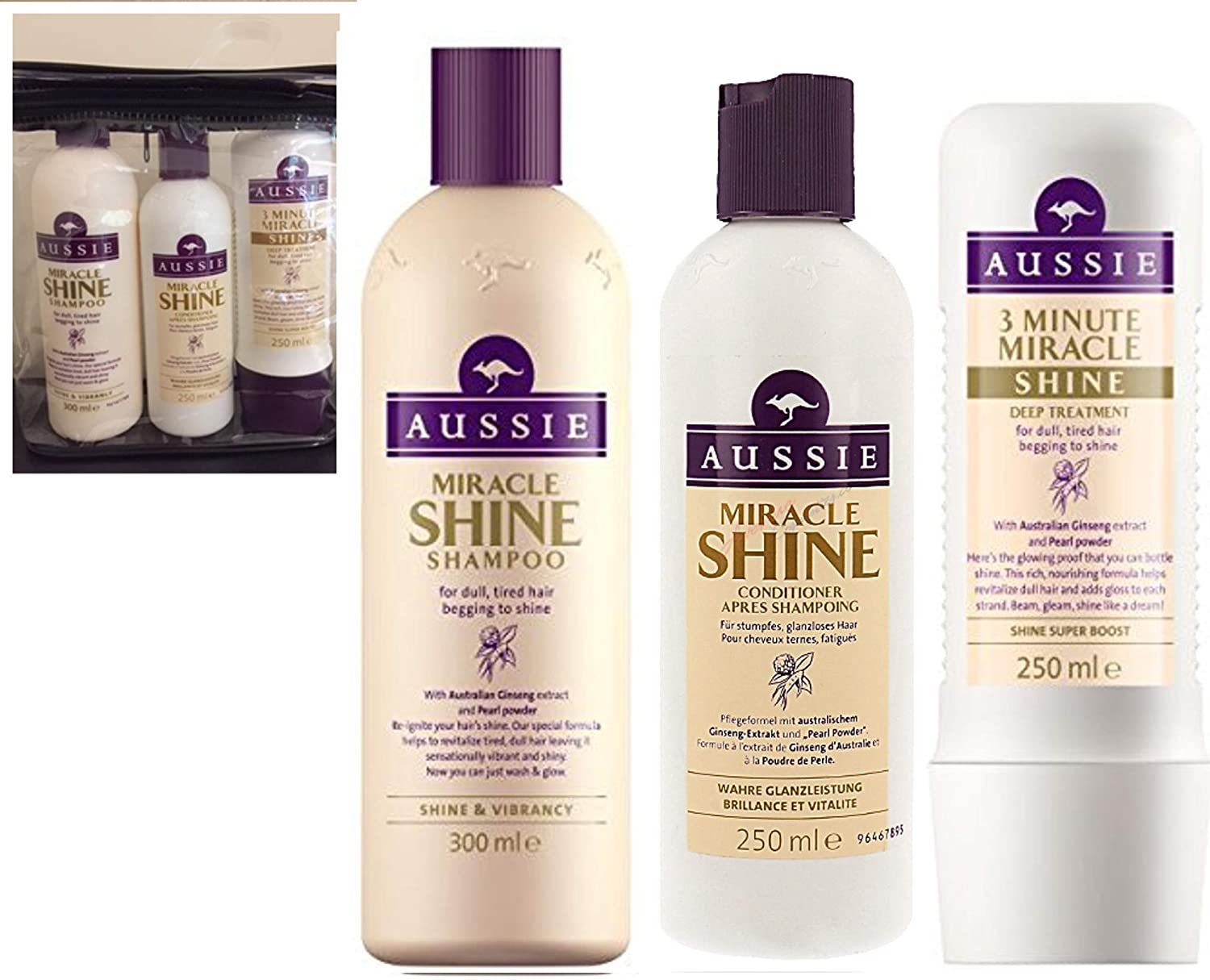 Aussie MIRACLE SHINE GIFT SET - Shampoo 300ml + Conditioner 250ml + 3 Minute Miracle Intense Conditioning Masque - All in Zipped Transparant Toiletries bag with piped edges - PERFECT GIFT