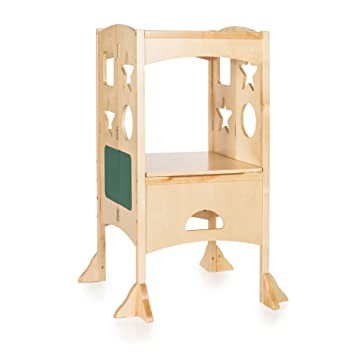 Guidecraft Classic Kitchen Helper Stool   Natural: Adjustable Height,  Folding Step Stool For Little