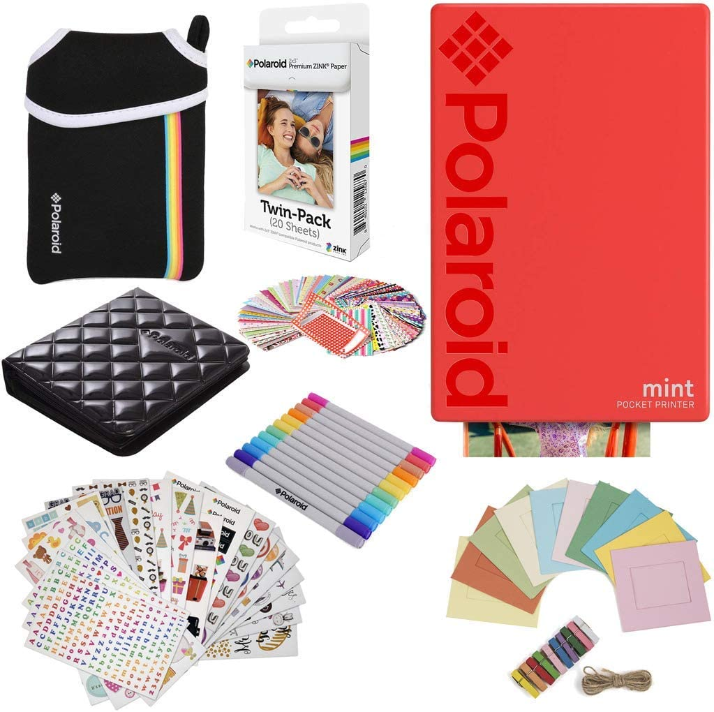 Polaroid Mint Pocket Instant Printer (Red) Gift Bundle + Paper (20 Sheets) + Deluxe Pouch + 9 Fun Sticker Sets + Twin Tip Markers + Photo Album + ...