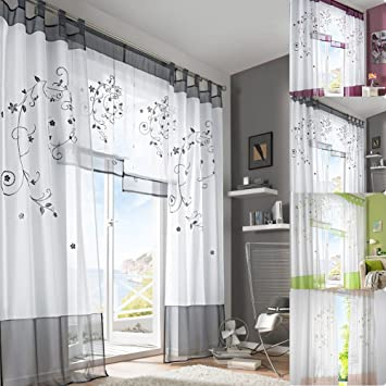 Sundautumn Rideau en Voile Rideau Voilage Impression de Fleurs pour Salon  Fenêtre Chambre Design Moderne (Gris : 140*225CM)