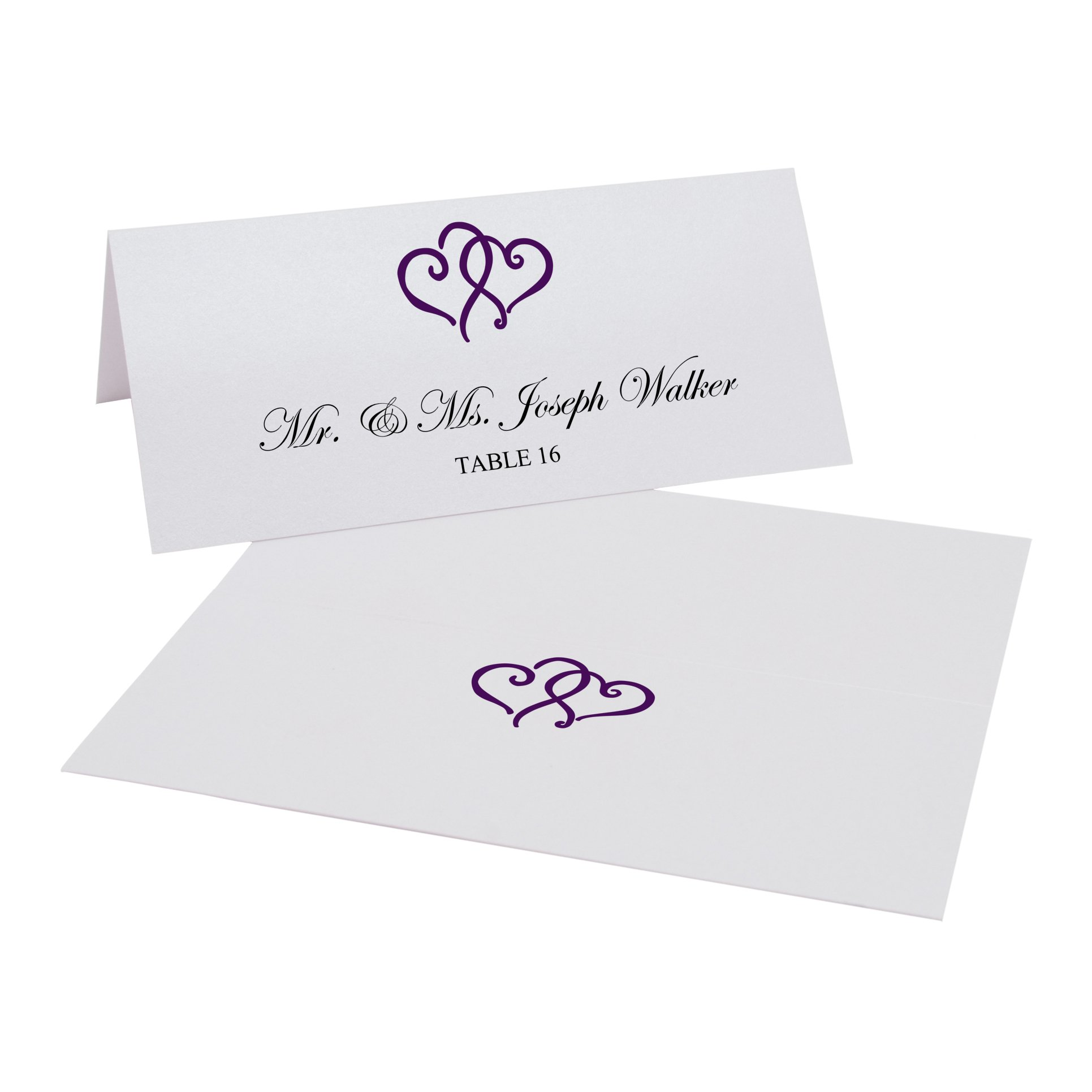 Linked Hearts Easy Print Place Cards, Pearl White, Eggplant, Set of 350 (88 Sheets)