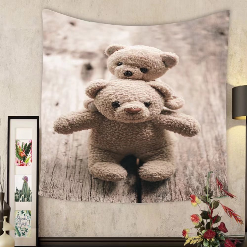 Madeleine Ellis Custom tapestry love couple teddy bear hold valentines day