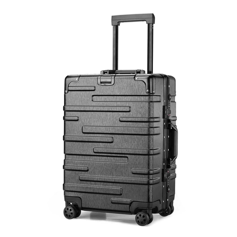 (アスボーグ)ASVOGUE スーツケース キャリーケース TSAロック 半鏡面仕上げ アライン加工 アルミフレーム レトロ 旅行 出張 軽量 静音 ファスナーレス 機内持込可 保護カバー付き B07BK3T91F 2XL|モダン-ブラック モダン-ブラック 2XL
