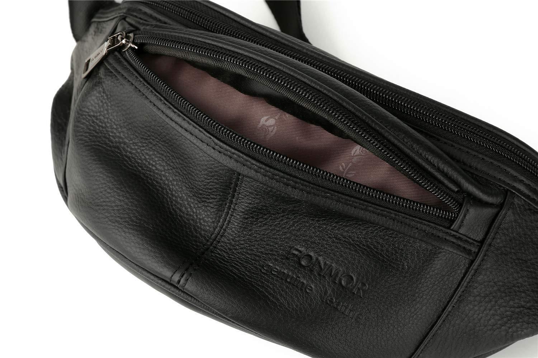 Leather Black Waist Bag Fanny Pack Hip Bum bag Organizer For Men Women