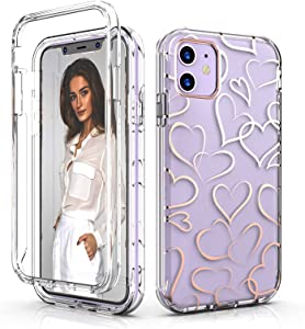 Bapicare Case for iPhone 11 Case 6.1 Inch (2021),Rose Gold Heart Cute Design for Girls/Women,Glitter Clear Durable Dual Layer Hybrid Slim Hard Back + Soft TPU Bumper Shockproof Protective Phone Case.