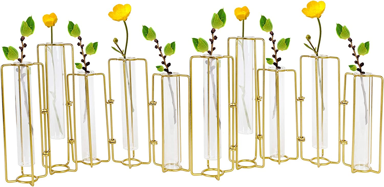 Hinged Bud Vase 10 Pack, Glass Thin Cylinder Vases for Centerpieces, Round Single Flower Decor, Gold Metal Outline Frame for Test Tube, Multiple Propagation Stations, Wedding Table Decoration