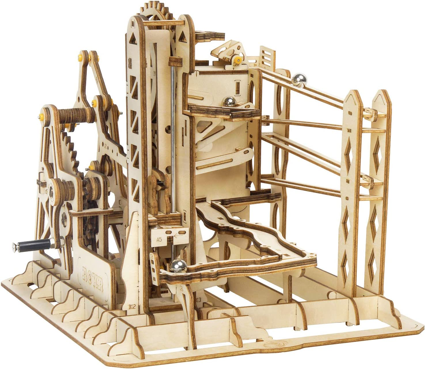 ROKR Wooden Marble Run Sets-Assembly Magic Tracks Toys-Fantastic Educational Toy-Wooden Puzzle Model Kit-Home Decor-Unique Christmas,Birthday Gifts for Boys,Girls,Teens,Adults Marble Squad