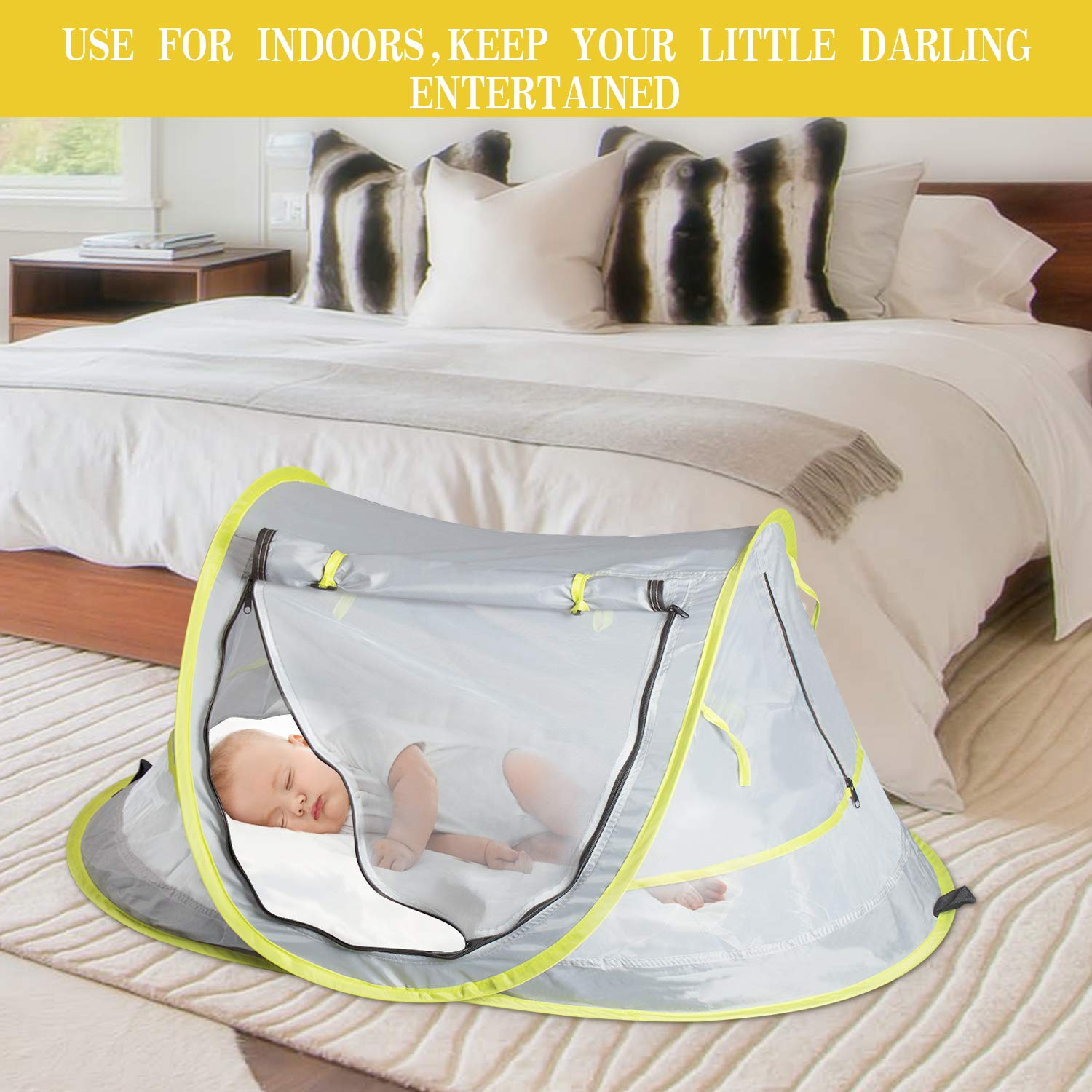 Baby Beach Tent UV Protection UPF 50+ Instant Beach Tent Sun Shelter Pop-up Outdoor Portable Newborn Travel Cribs Bed with Sleeping Pad, Mosquito Net and 2 Pegs Ultralight Weight by Monocho by Monocho (Image #6)