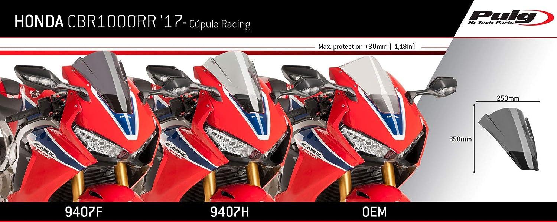 90/% Set Puig 9407F Pare-Brise Racing compatible avec CBR1000RR 2017 teint