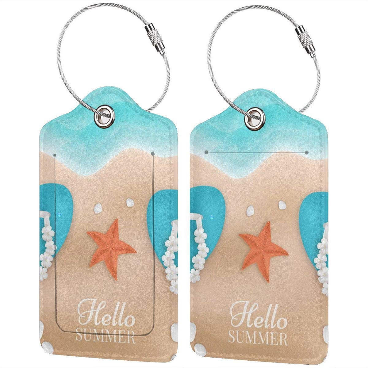 The Summer On The Beach Leather Luggage Tags Personalized Extra Address Cards With Privacy Flap