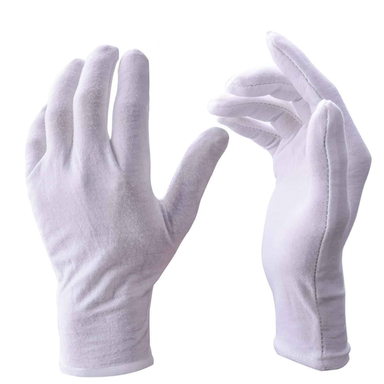 UClever 12 Paar weiß Baumwolle Handschuhe für die Haut Schutz, Große Größe Große Größe