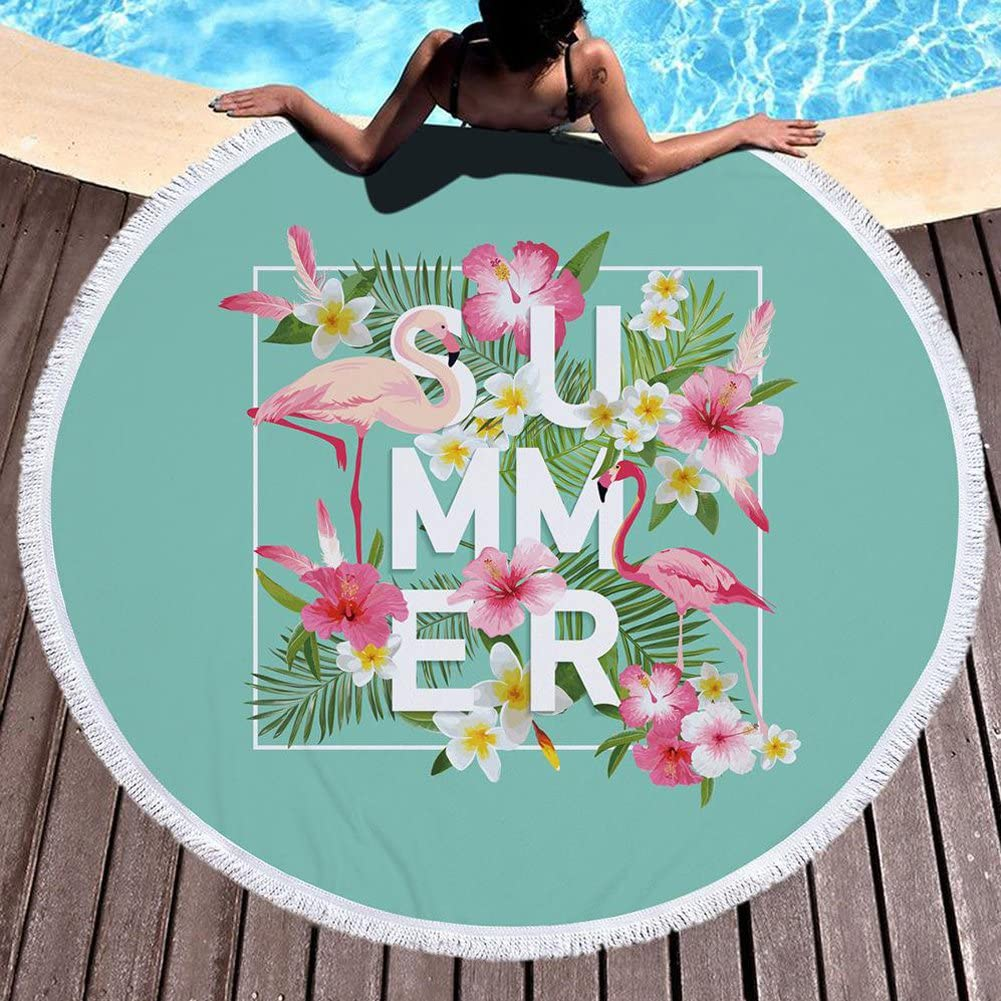 ED-Lumos Toalla de Playa Manta para Playa o Picnic Microfibra Poli/éster Gigante 150cm x 150cm Forma Flamenco Color Rosa y Verde