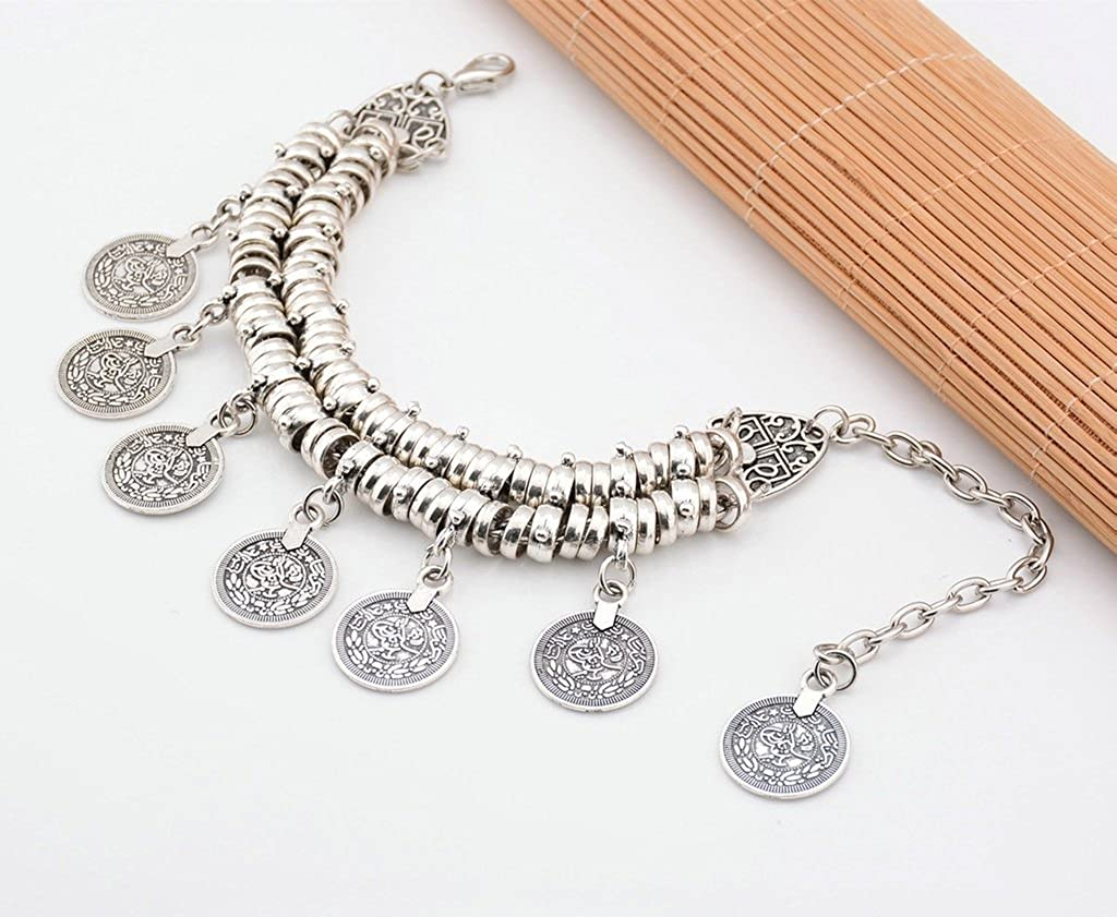 Bishiling Foot Anklet Bohemian with Mit Coins Shells Stand Chain Silver