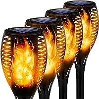 4 Stuks Vlamlicht Tuinfakkels IP65 Waterdichte Solar Flame Zaklampen Verlichting Zonne-verlichting Met Realistische…