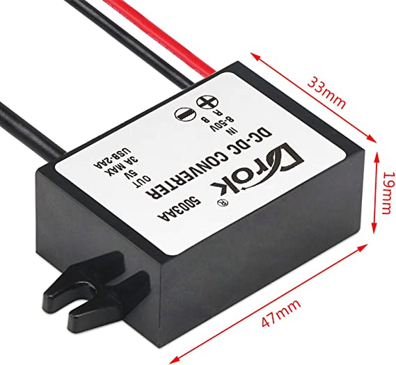 MagiDeal 12V A 5V 3A USB DC-DC Buck Convertitore del Caricatore Step-Down Il Modulo di Alimentazione Mini 5P DC-DC Buck USB