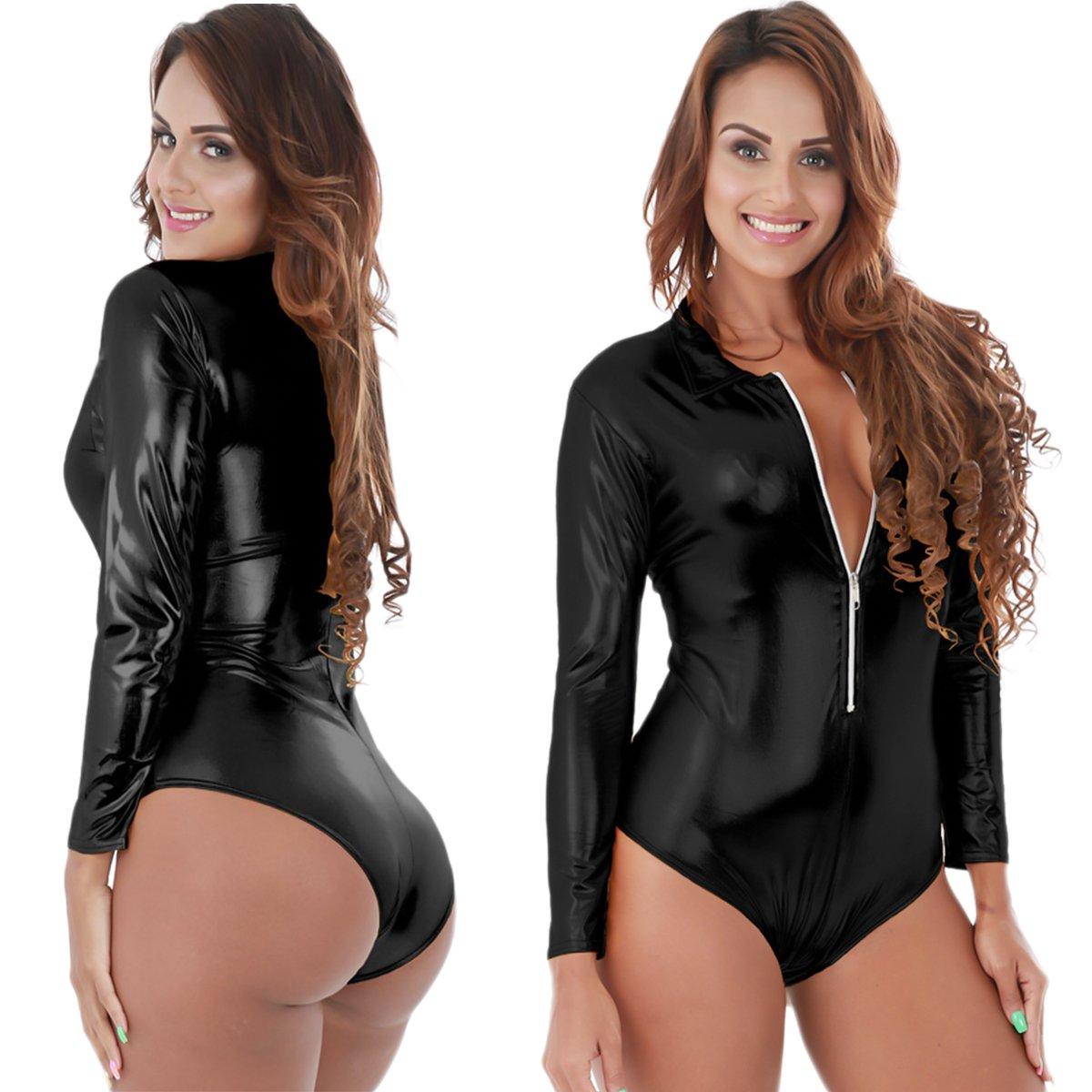 Womens Sexy Faux Leather Long Sleeve Zipper Bodysuit Clubwear Bodycon  Leotard Teddy Romper Jumpsuit Dance Unitard Tops at Amazon Women s Clothing  store  fdb12dee8