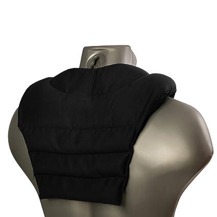 Cojín para el cuello con parte dorsale | negro | Almohada térmica | Saco cervical térmico de semillas | Cojín caliente para la espalda| Semillas de ...