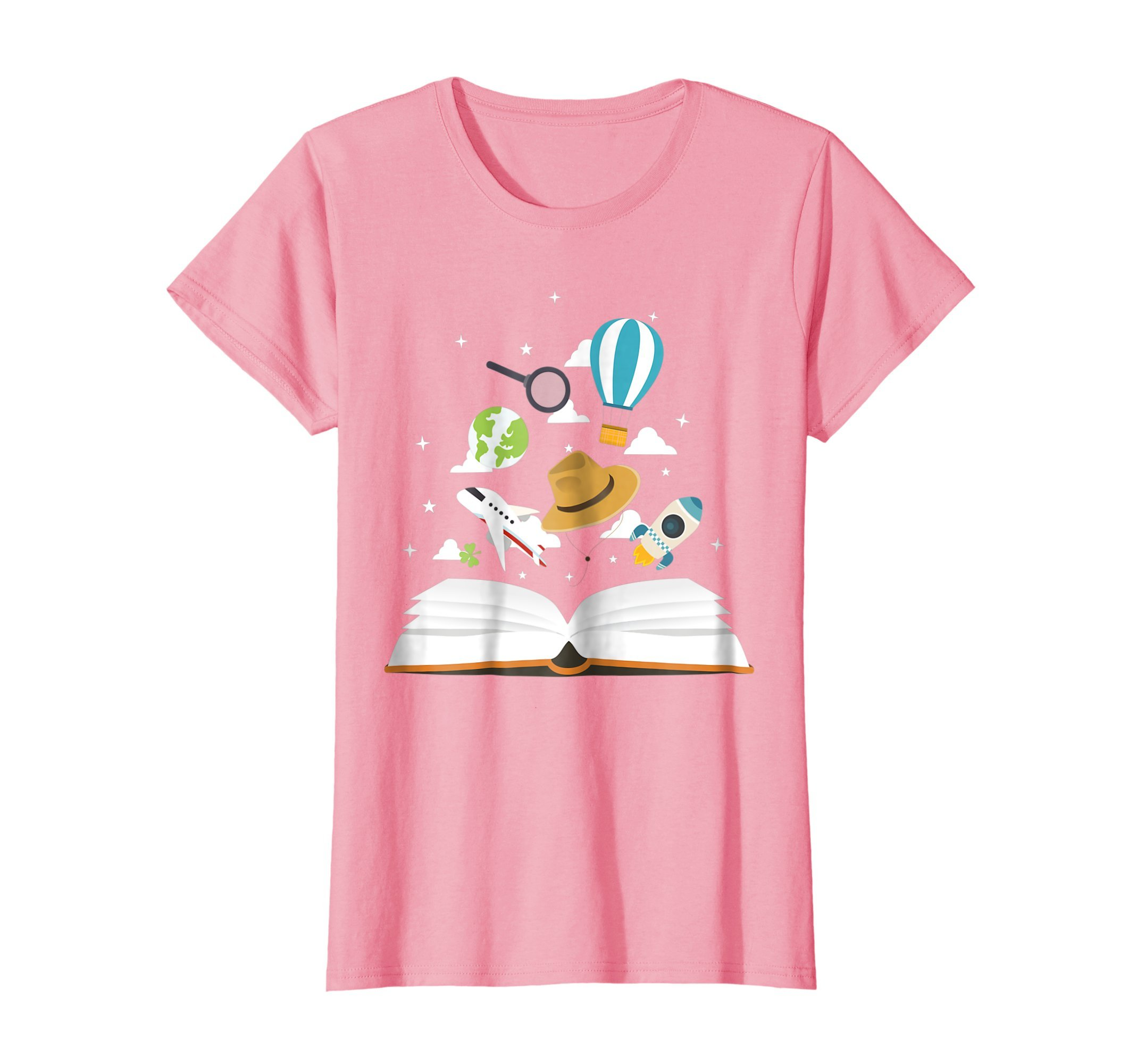Womens I LOVE READING Book Nerd Reader Cute Geek Funny Imagination Large Pink