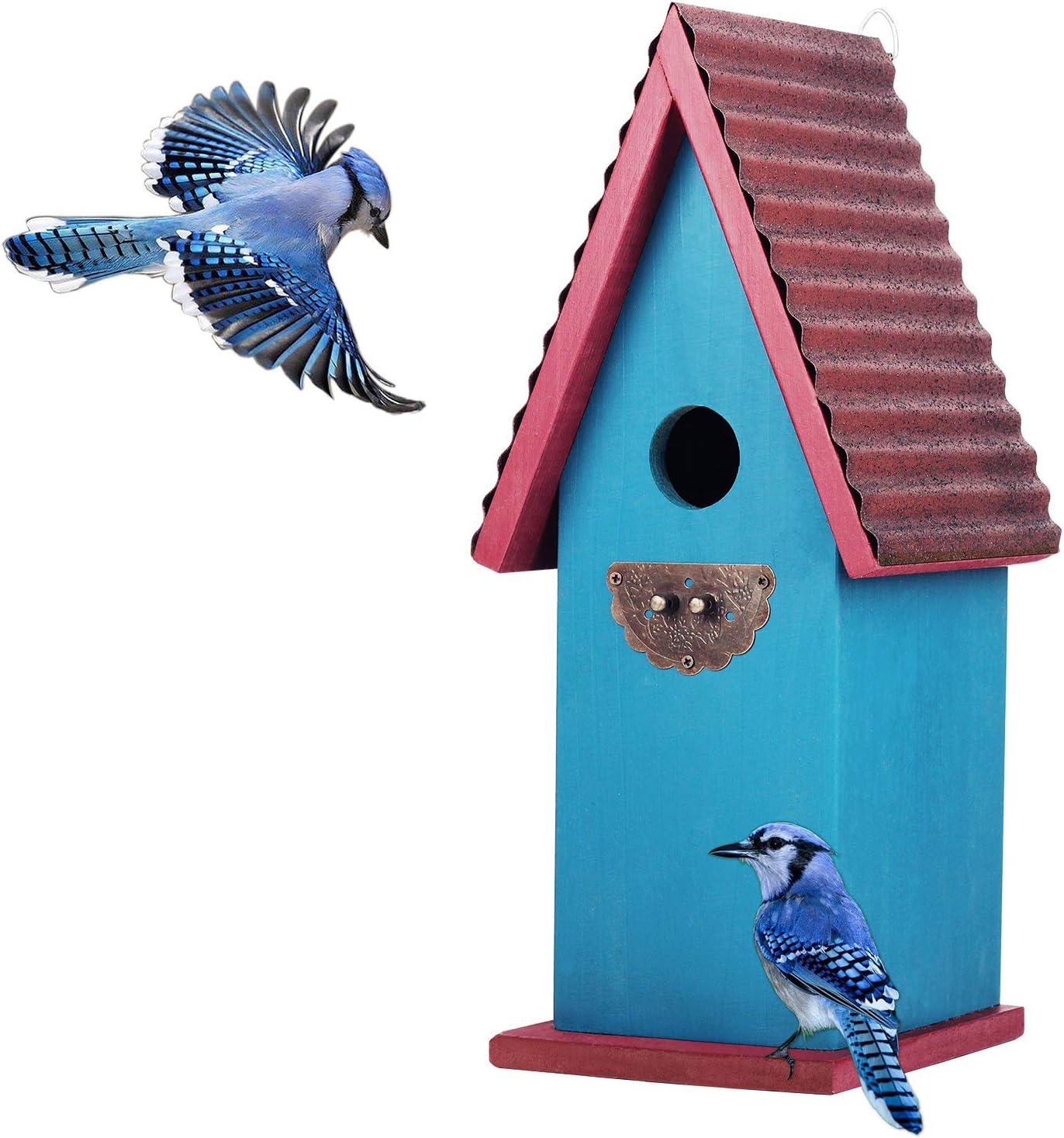 CEDAR ALPHA Premium Cedar Bluebird House for Outside, Gothic Style Rustic Metal Roof Nest Box Garden Outside Vintage Color (Color : Blue)