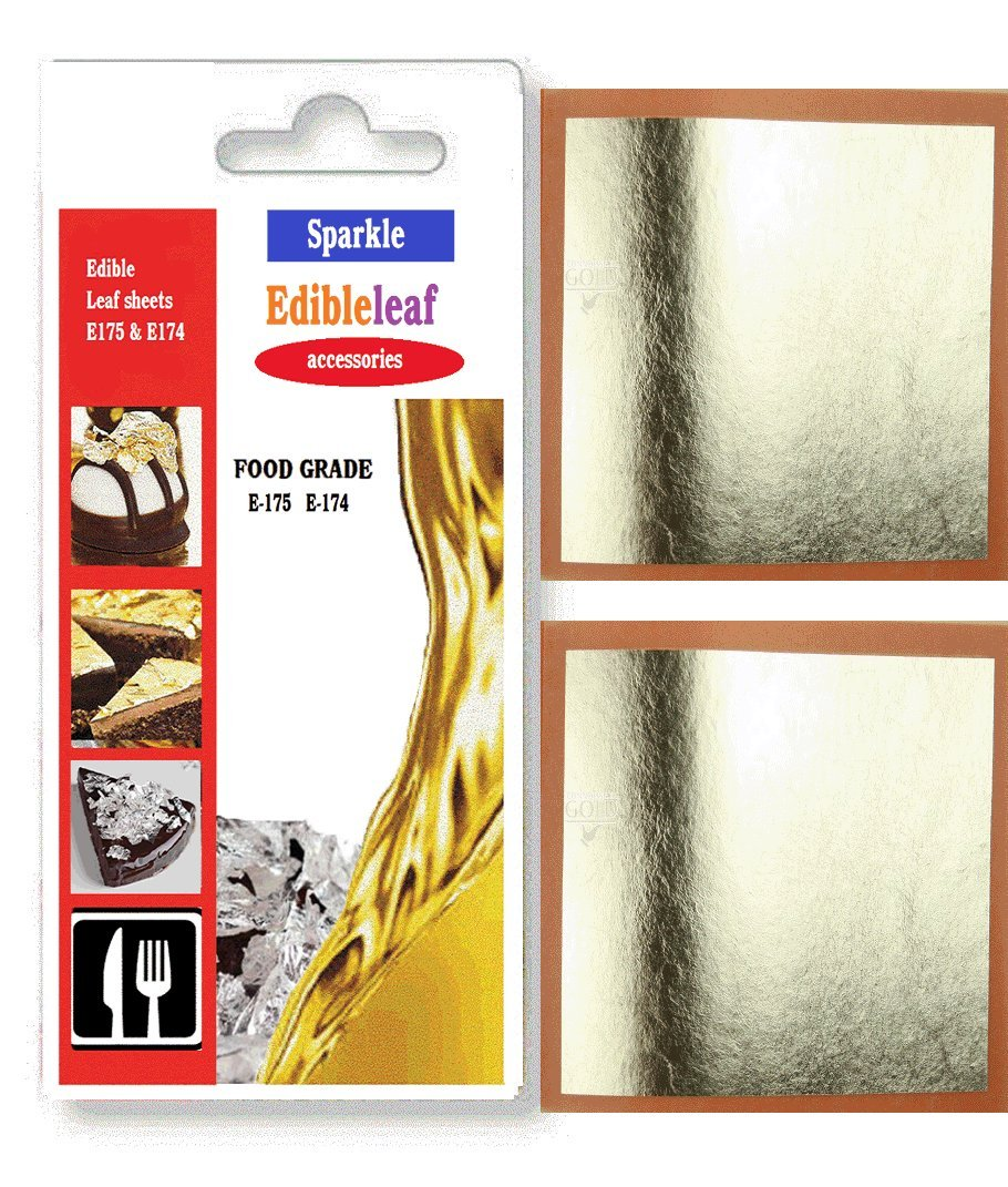 10 Real Silver Leaf Leaves Genuine Pure 999/1000 Edible Gilding 40mm x 40mm pure gold
