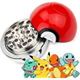 "OliaDesign 3 Piece Poke-Gringer Pokemon Poke-Ball Herb Spice Grinder Aluminum, 40mm/1.5"", Red"
