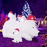 AsterOutdoor 6ft Christmas Decorations Inflatable Polar Bear Family with Santa Hat Blow Up Built-in LED Outdoor Indoor Yard L