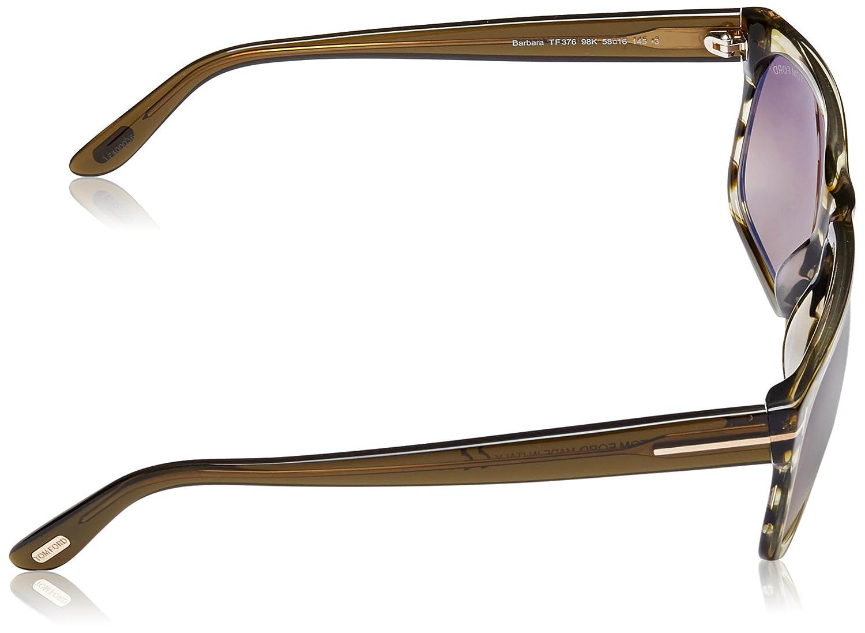 75974fd8ff Amazon.com  Tom Ford Barbara Women s TF376 TF 376 98K Olive Stripe Fashion  Sunglasses 58mm  Clothing