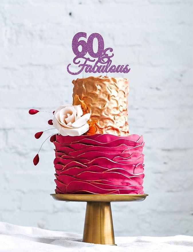 Adorno para tarta de LissieLou, 60º cumpleaños, con texto en inglés «60 & Fabulous»: Amazon.es: Hogar