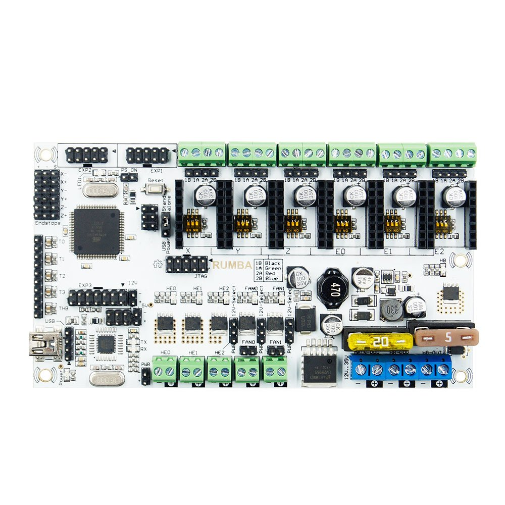 Rumba Plus 12V Upgraded Integrated Motherboard Control Board Support 3 Print Heads for 3D Printer Mainboard 3D Printer /& Supplies 3D Printer Module Board