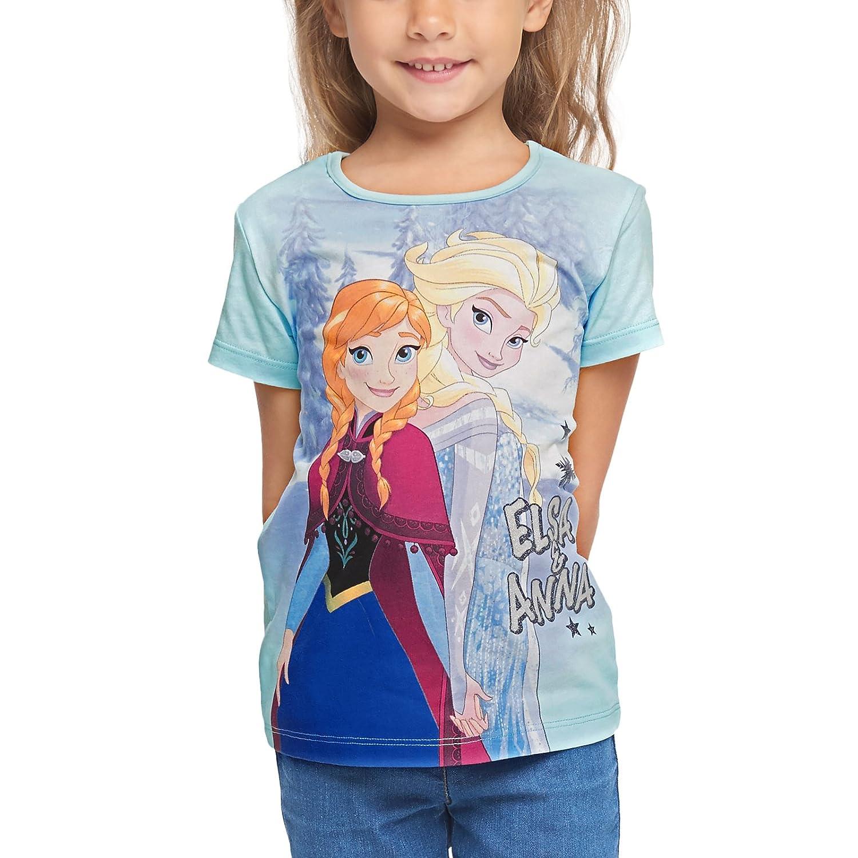 Disney Maglietta Frozen Princess per Bambini Elsa & Anna The Frozen Cotton Blue