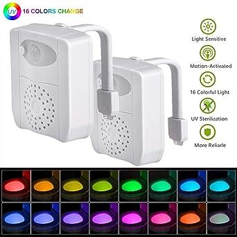 2 Pc 16 colores UV Sanitizer WC luz de noche, Sensor de movimiento activado LED