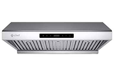 Chef Range Hood PS10 30 Pro Performance Under Cabinet Kitchen Extractor Stainless Steel Electric Stove Ventilator 3 Speed 900 CFM Exhaust Fan with Bright LED Lights Delay Auto Shut-Off