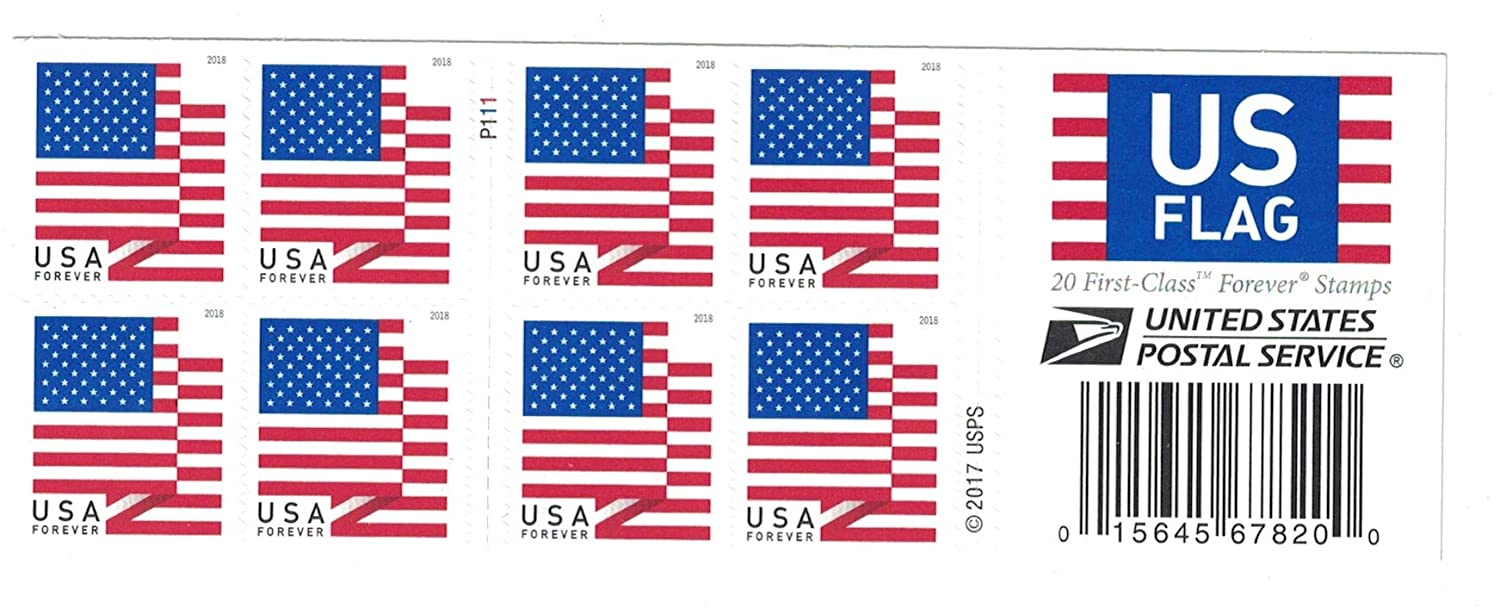 Amazoncom Usps Us Flag Forever Stamps Booklet Of 20 2018 - United-states-forever-stamps