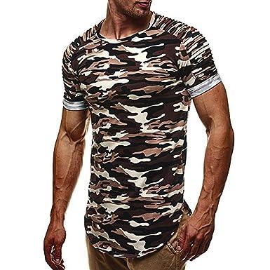65d24609f92fa OHQ Shirt Court de Camouflage pour Hommes Vert Rouge Gris Personnalité La  Mode Humour Couple Homme Sport Fashion Chic Pas Cher Manche Occasionnels  Slim ...
