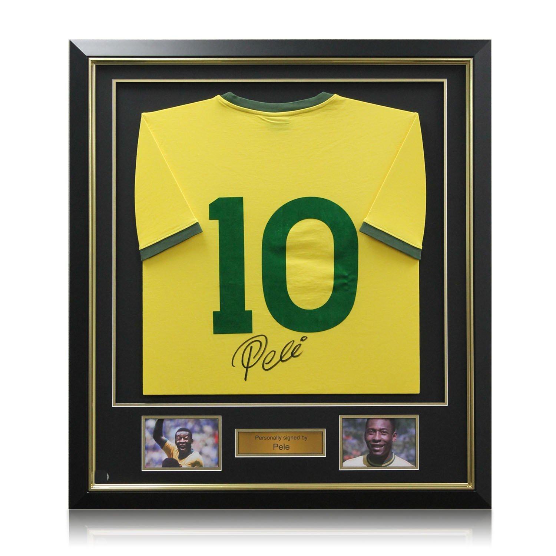 Pelé Brasil Número Fútbol 10 camiseta, de lujo enmarcado (oro embutido): Amazon.es: Deportes y aire libre