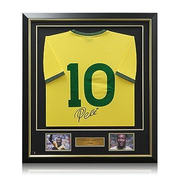 Pelé Brasil Número Fútbol 10 camiseta, de lujo enmarcado (oro embutido)