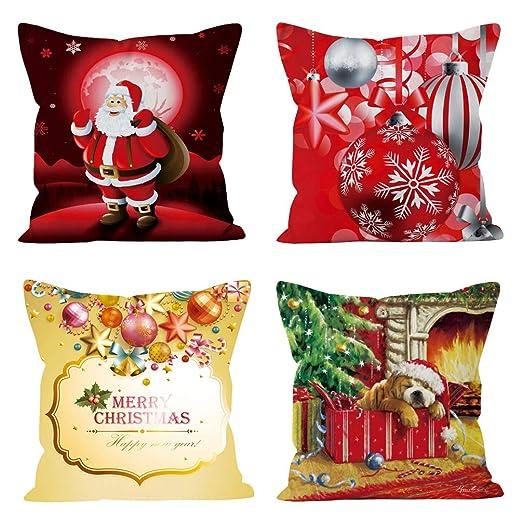 Ninkisann - Fundas de cojín de Navidad, 4 Unidades, 45 x 45 ...