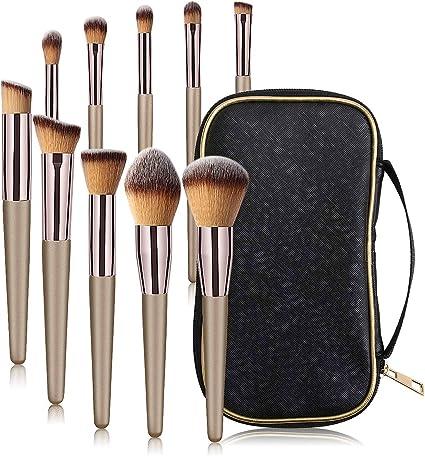 MAANGE - Juego de brochas de maquillaje profesionales para base de ojos, 10 unidades, juego de brochas de maquillaje pequeñas y suaves con estuche negro: Amazon.es: Belleza