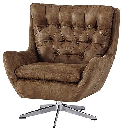 Ashley Furniture Signature Design   Velburg 360 Degree Swivel Accent Chair    Contemporary   Distressed
