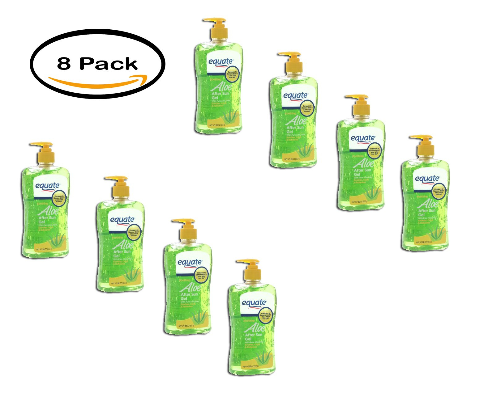 PACK OF 8 - Equate Soothing Aloe After Sun Gel 20 Oz