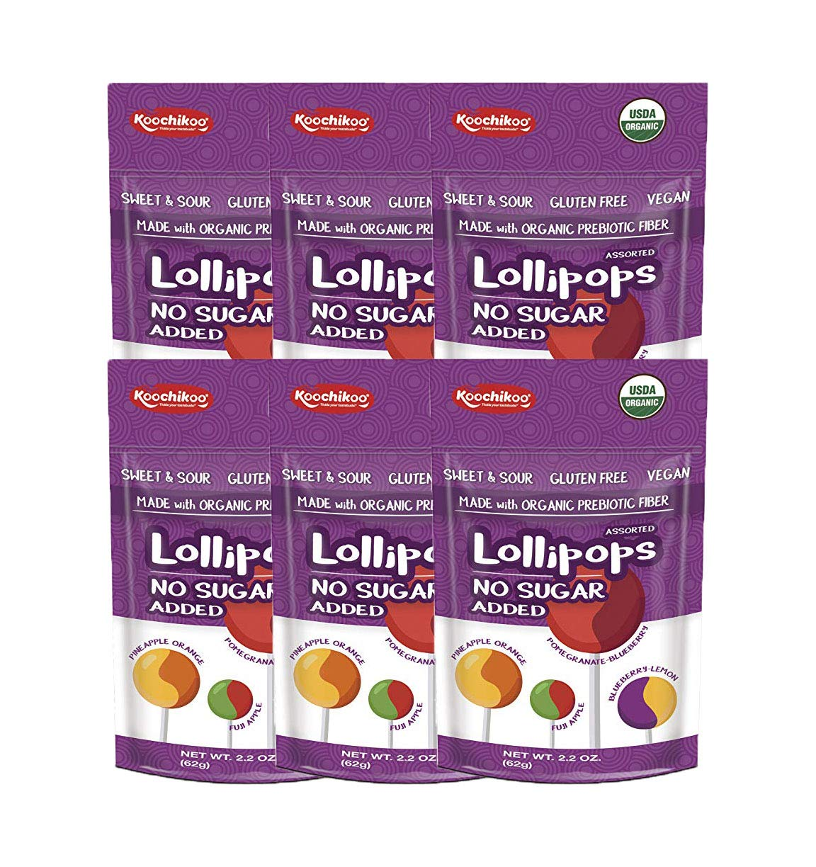 Koochikoo Sugar Free Organic Lollipop Pouch, Delicious Assorted Fruity Flavors, 10 CT (Pack - 6)