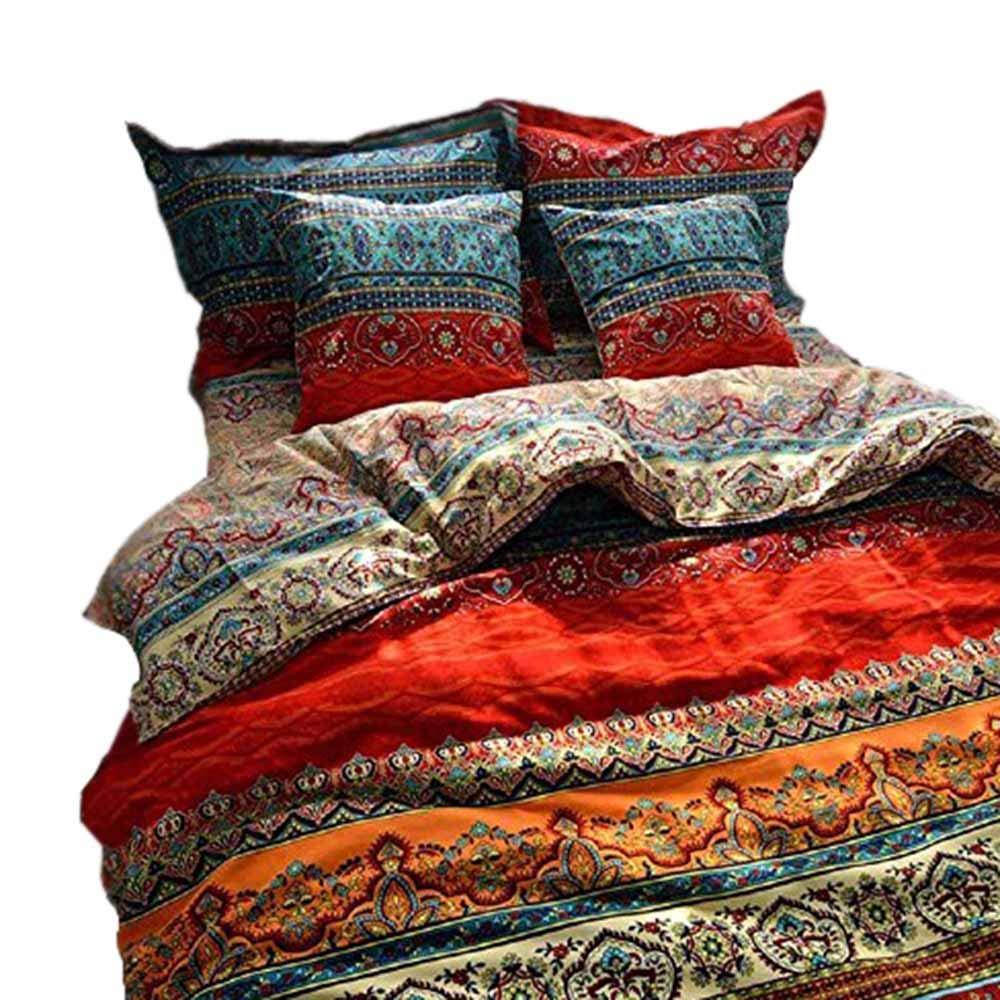 YOUMIMAX Bohemia Retro Printing Bedding Ethnic Vintage Floral Duvet Cover Boho Bedding 100% Brushed Cotton Bedding Sets(Full,04)