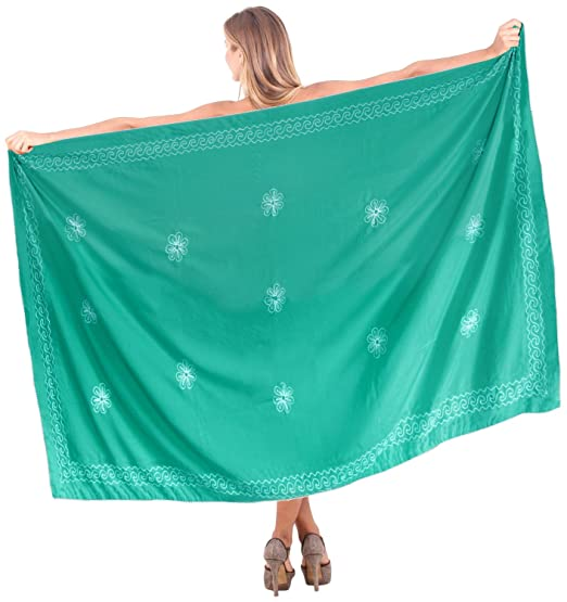 cd14f102da LA LEELA Rayon Swimsuit Tie Slit Skirt Sarong Solid 72 quot X42 quot  Sea  Green 3833