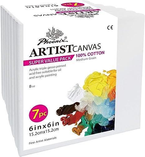 Foenix - Lienzo para pintar (preestirado, 5/8 pulgadas, perfil de Super Value Pack para acrílicos, aceites y otros medios de pintura): Amazon.es: Juguetes y juegos