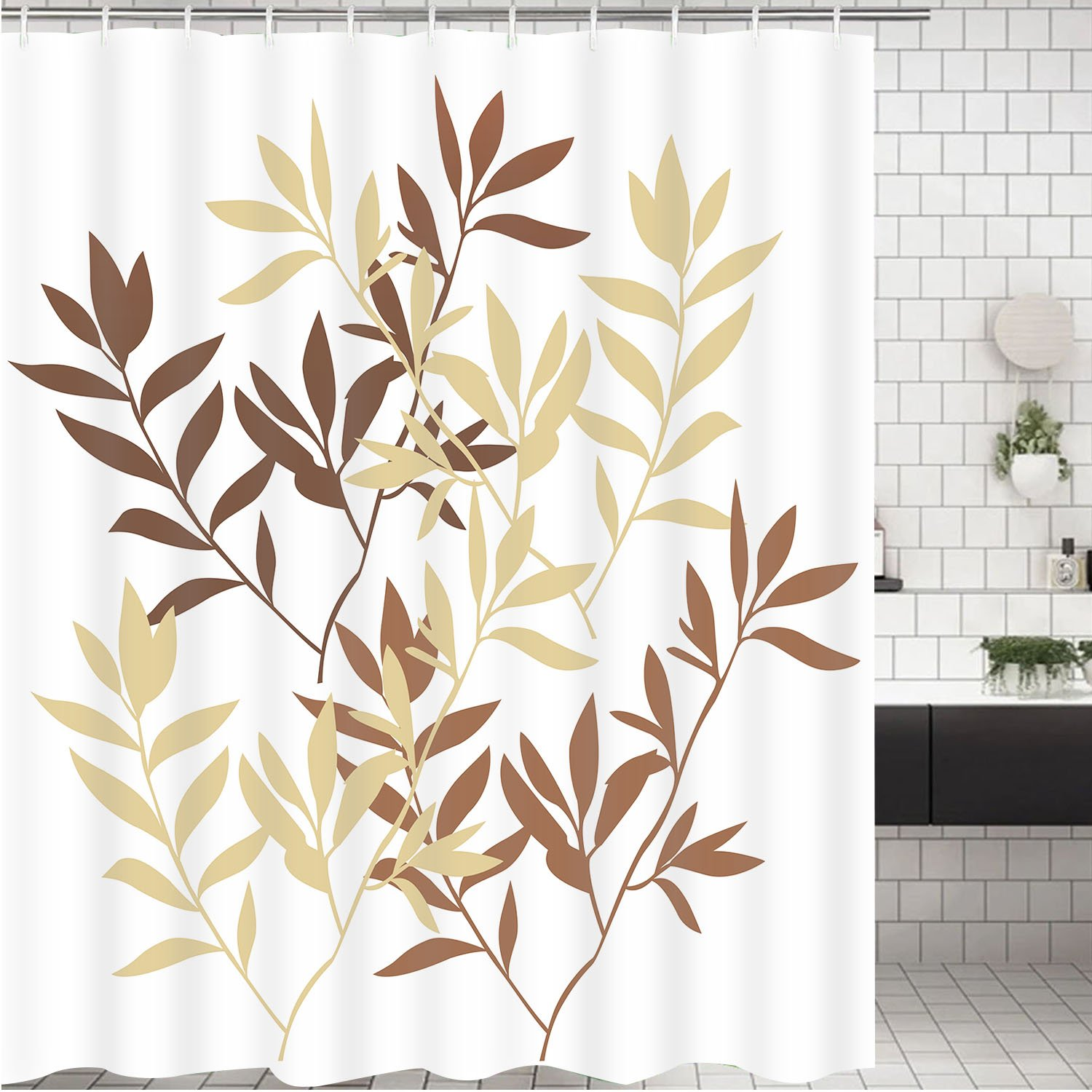 Leaves Shower Curtain Bathroom Shower Curtain Bathroom Curtain Durable Oxford Fabric Bath Curtain Bathroom Accessories Ideas Kitchen Window Curtain with 12 Hooks