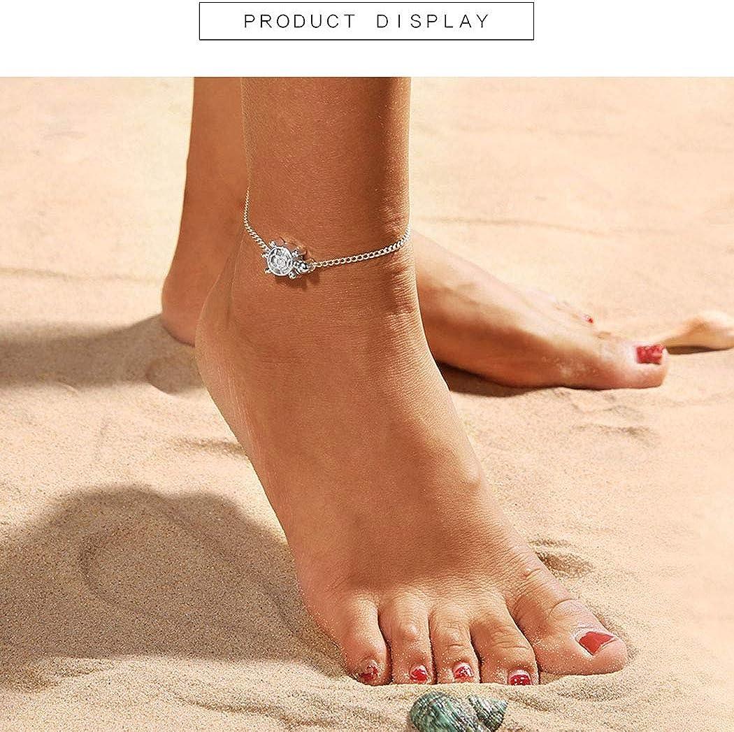 da spiaggia per la festa della mamma Yienate argento estate a piedi nudi per donne e ragazze Cavigliera Boho con ciondolo a forma di tartaruga