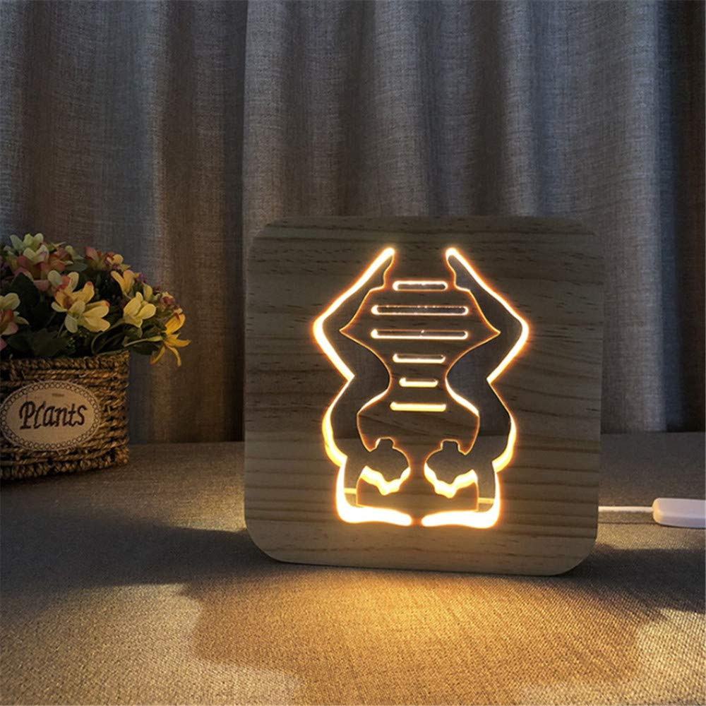 Night Light Kid Led Wooden Button Type 3D Wood Table Lamp USB Warm White, Yoga Styling