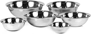 ChefLand Set of 6 Standard Weight Mixing Bowls, Stainless Steel, Mirror Finish, 0.75, 1.5, 3, 4, 5, and 8 Qt. (Mixing Bowl Set Of 6)